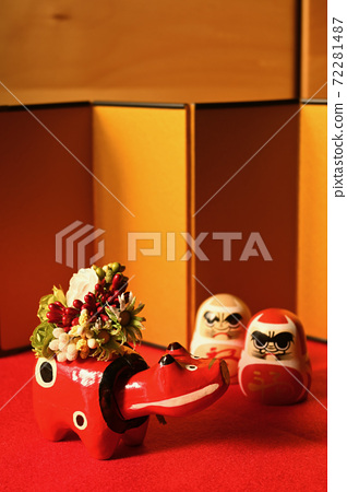 Akabeko carrying flowers and Tatsuma Red and White 72281487