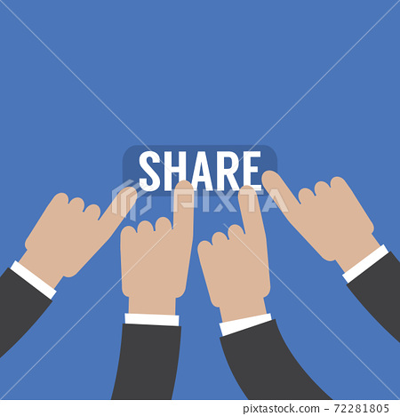 Flat Design Hand  is Pressing Share Button, Communication in The World of Technology Concept Vector Illustration. 72281805
