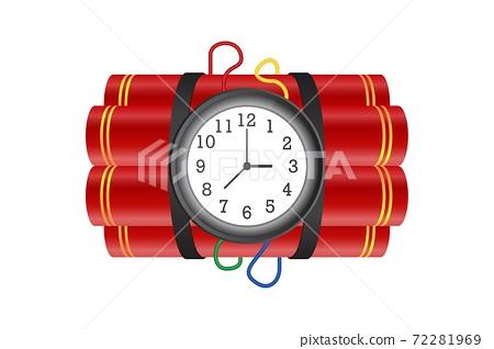 Dynamite with burning fuse vector illustration isolated on white background 72281969