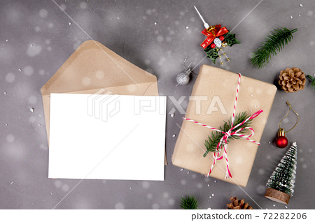 Christmas holiday composition with gift box decoration and greeting card, new year and xmas. 72282206