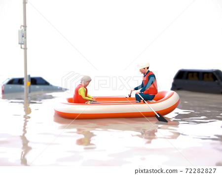 洪水破壞和人員疏散 72282827