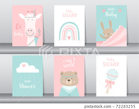 Set of baby shower invitation cards,poster,template,greeting,cute,animal,Vector illustrations 72283255