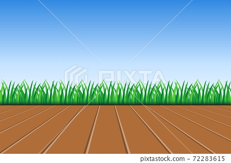 Background of green grass, wooden deck and blue sky vector illustration 72283615