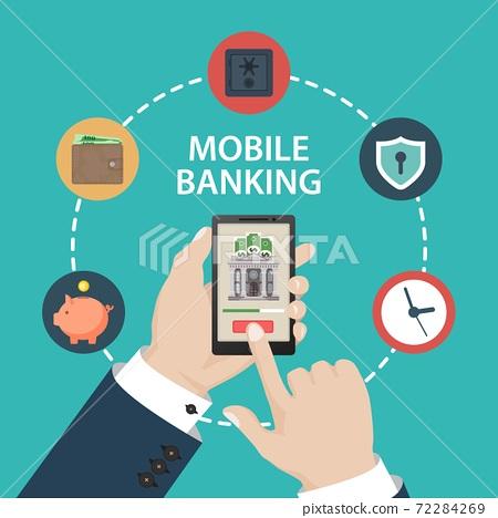 Mobile banking concept. Vector illustration in flat design. 72284269