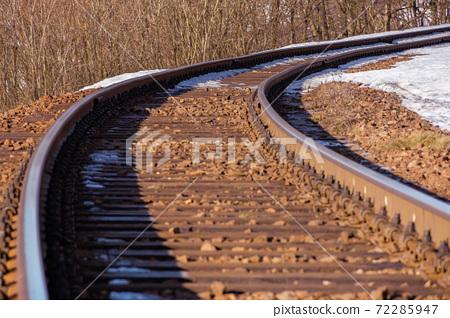 railroad in winter. snow on the roadside. transportation scenery 72285947