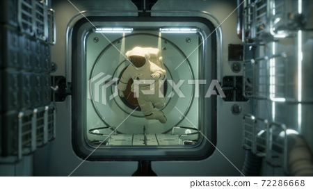 astronaut inside the orbital space station 72286668