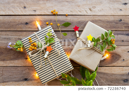 gift box for special day in festival day christmas and new year with leaves of lifestyle  72286740
