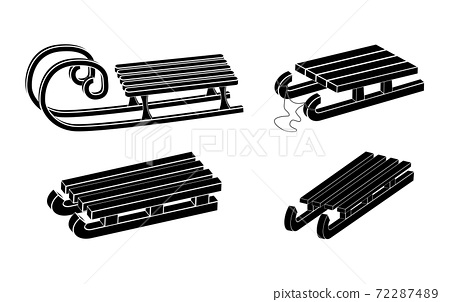 Sleigh silhouette vector symbol set. Winter sledge for children icon collection. Wooden snow sled black shape. Classic child old wood transport vehicle design. Seasonal illustration isolated on white 72287489
