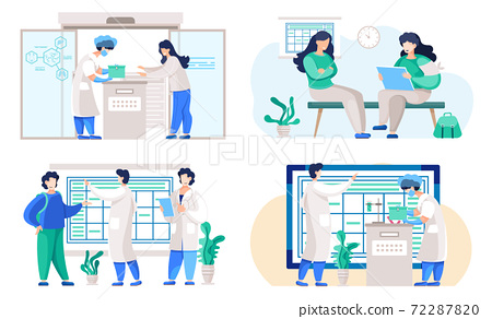 Set of illustrations on the topic of planning a working day in the lab. People communicate and work 72287820