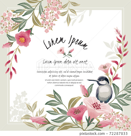 Vector illustration with a cute bird on a floral branch in spring for Wedding, anniversary, birthday and party. Design for banner, poster, card, invitation and scrapbook  72287833