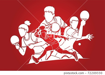 Group of Ping Pong players, Table Tennis players action cartoon sport graphic vector. 72289330