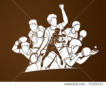 Group of Ping Pong players, Table Tennis players action cartoon sport graphic vector. 72289331