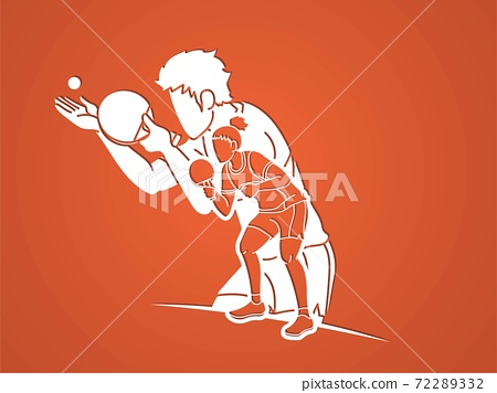 Group of Ping Pong players, Table Tennis players action cartoon sport graphic vector. 72289332