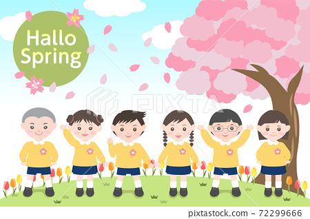 봄의 벚꽃 나무 아래에 늘어선 귀여운 원 아들 72299666