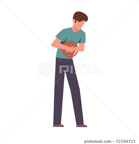 Man suffering from abdominal pain. Male young character bending over and holding his belly, painkillers advertisement, stomach disease, ulcers and gastritis vector illustration 72299723