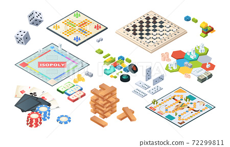 Board games. Adults funny games isometric cards backgammon chess mahjong vector 72299811