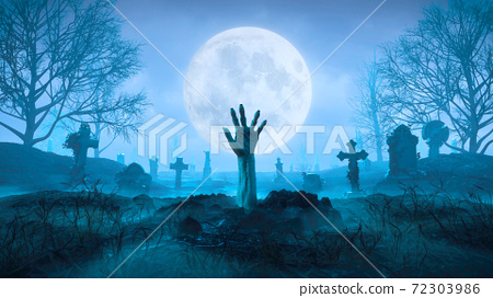 3d render Zombie hand crawls out of the ground at night against the background of the moon in the cemetery 72303986