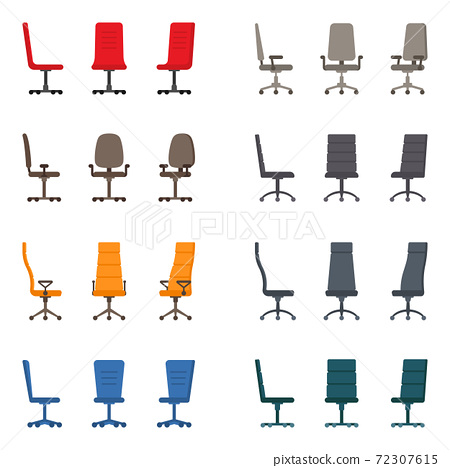 Isolated color modern spinning rolling office chair vector illustration icon set. Front, side view business seat kit 72307615