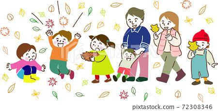 家人和朋友喜歡收集,扔和撿落葉 72308346