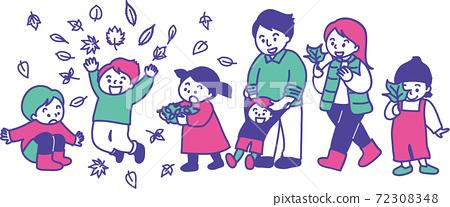 家人和朋友喜歡收集,扔和撿落葉 72308348