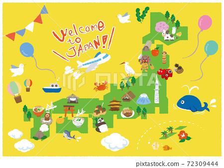 日本外國人旅遊目的地介紹A4海報 72309444