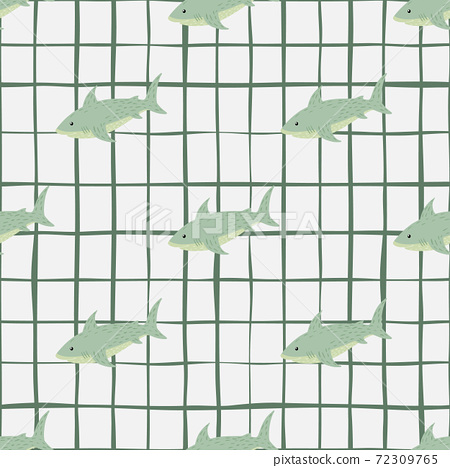 Wildlife water seamless animal pattern with green shark shapes. White chequered background. 72309765