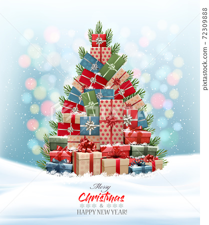 Holiday Christmas background with Christmas tree made out of colorful gift boxes and presents. Vector illustration 72309888