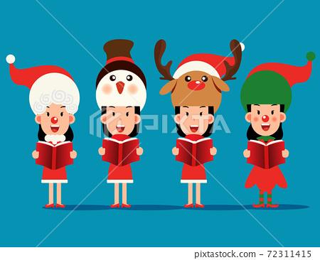 Merry christmas. Character costume with christmas carol and choir 72311415