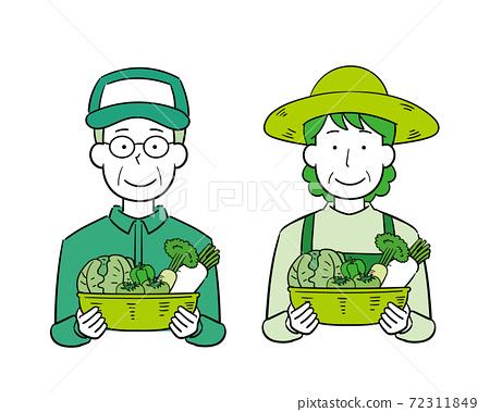 農業生產者的男人和女人用裝有蔬菜的籃子 72311849