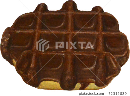 Realistic analog illustration chocolate waffles 72313829