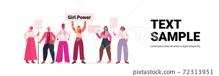 mix race girls activists holding posters female empowerment movement women power concept 72313951