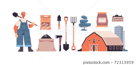 set garden and farm tools gardening equipment and farmer with shovel organic eco farming agriculture 72313959