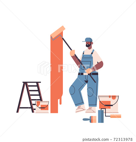 professional worker in uniform using painting wall with roller repair service renovation concept 72313978