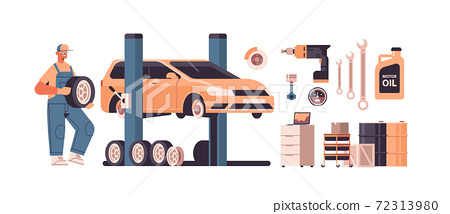 mechanic working and fixing vehicle car service automobile repair and check up maintenance station concept 72313980