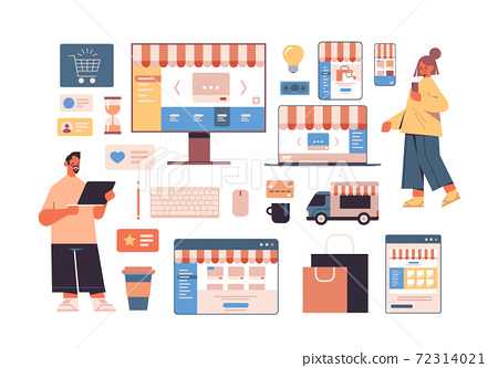 people using online shopping applications on digital devices internet business icons set 72314021