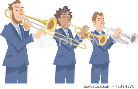 一位彈奏爵士樂的音樂家。各種金管樂器,長號,小號,短號。 72314370