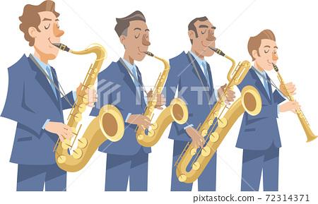 一位彈奏爵士樂的音樂家。各種薩克斯風,男中音,低音,中音,女高音。 72314371