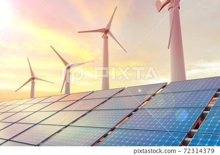 태양광 솔라 패널과 친환경 에너지 72314379