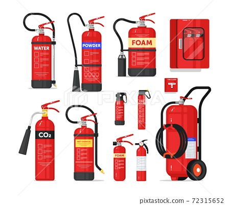 Fire extinguisher firefighter equipment isolated set 72315652