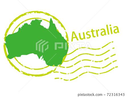 進出口業務圖像圖章/郵戳圖標,澳大利亞的插圖和地圖|矢量數據 72316343