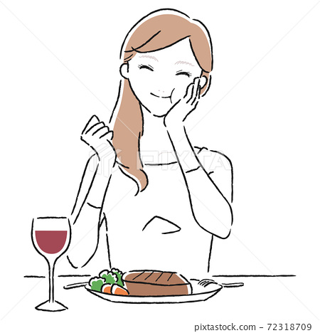吃一塊可口牛排和微笑的一個少婦的例證。 72318709