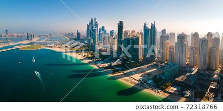 JBR beach and Dubai Marina skyscrapers aerial view 72318766