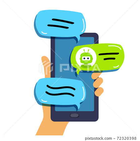 Chat bot Concept of technical support. Hand holding a mobile phone. 72320398