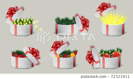 Gift white box in a red ribbon and bow on top. Holiday, gift round box with sparkles, pine cones, orange, garland inside and bright rays of light. New Year and Christmas design. Vector illustration. 72321911