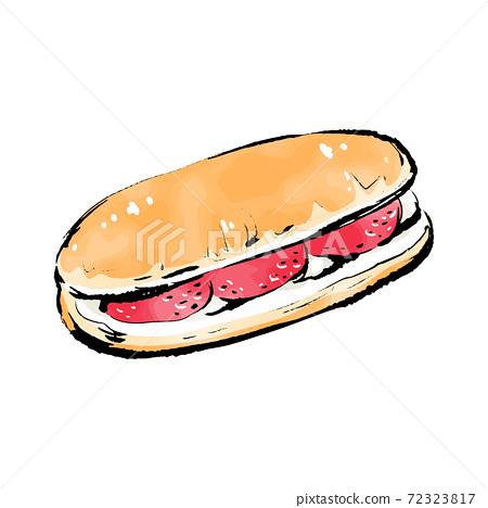 手寫的粗糙的sketch_coppe草莓麵包 72323817
