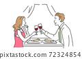 一個男人和一個女人約會敬酒用酒的插圖 72324854