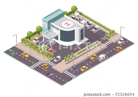 Isometric hospital building with ambulance vector illustration 72326054