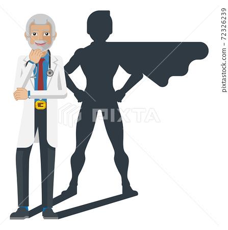 Young Medical Doctor Super Hero Cartoon Mascot 72326239