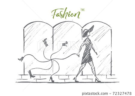 Hand drawn stylish woman with bunch of tied shoes 72327478