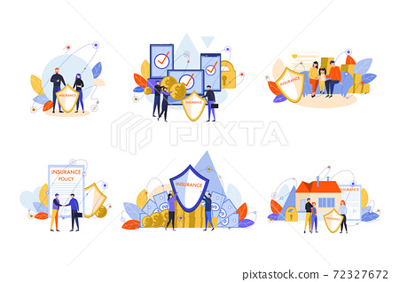 House, family, health, electronic device, insurance policy set concept 72327672